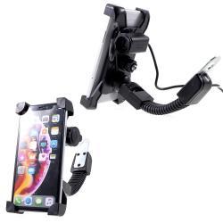 """UNIVERZÁLIS motoros telefon tartó - 360°-ban forgatható, állítható bölcsővel, USB töltő aljzattal beépítése szakértelmet igényel!, 4-6"""" készülékekhez - FEKETE"""