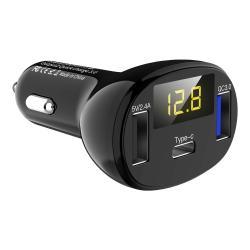 Szivargyújtós töltő / autós töltő - 1db Type-C aljzat, 2db USB aljzattal, 1db Quick Charge 3.0 port, 1db 5V/2.4A port, digitális kijelzés, 32W (max) - FEKETE