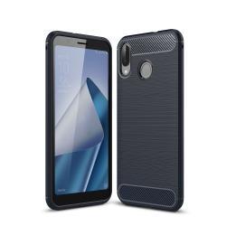 OTT! CARBON szilikon védő tok / hátlap - SÖTÉTKÉK - karbon mintás, ERŐS VÉDELEM! - Asus Zenfone Max M1 (ZB555KL) (2018)