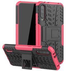 OTT! VROOM műanyag védő tok / hátlap - FEKETE / RÓZSASZÍN - AUTÓGUMI MINTÁS - szilikon betétes, asztali tartó funkciós, ERŐS VÉDELEM! - Xiaomi Mi CC9e / Xiaomi Mi A3