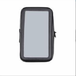 UNIVERZÁLIS motorkerékpáros tartó konzol mobiltelefon készülékekhez - 151 x 72mm-es bölcső, cseppálló védő tokos kialakítás, elforgatható, 3M-es ragasztóval rögzíthető - FEKETE