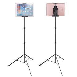 """UNIVERZÁLIS Tablet / telefon tartó / állvány -  360 °-fokban forgatható, alumínium, tripod, összecsukható, állítható magasság 42-150cm,  max 12""""-os készülékhez, 100-165mm-ig nyitható bölcsővel - EZÜST"""