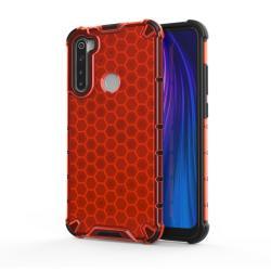 OTT! HONEYCOMB műanyag védő tok / hátlap - PIROS - szilikon belső, erősített sarkok, méhsejt mintás, ERŐS VÉDELEM! - Xiaomi Redmi Note 8