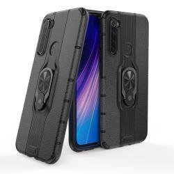 OTT! LEATHER RING műanyag védő tok / hátlap - FEKETE - bőrhatású, szilikon betétes, kitámasztható, fém ujjgyűrűvel, tapadófelület mágneses autós tartóhoz - ERŐS VÉDELEM! - Xiaomi Redmi Note 8
