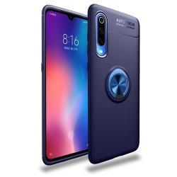 OTT! METAL RING szilikon védő tok / hátlap - SÖTÉTKÉK - fém ujjgyűrű, tapadófelület mágneses autós tartóhoz, ERŐS VÉDELEM! - Xiaomi Mi 9 Pro / Xiaomi Mi 9 Pro 5G
