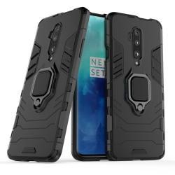 TRANSFORM PRO műanyag védő tok / hátlap - FEKETE - szilikon betétes, kitámasztható, fém ujjgyűrűvel - ERŐS VÉDELEM! - OnePlus 7T Pro