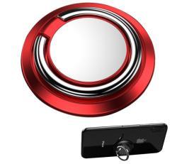 Fém ujjtámasz, gyűrű tartó - Biztos fogás készülékéhez, fém, ragasztható, kitámasztó, 360°-ban forgatható - PIROS