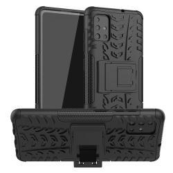 OTT! VROOM műanyag védő tok / hátlap - FEKETE - AUTÓGUMI MINTÁS - szilikon betétes, asztali tartó funkciós, ERŐS VÉDELEM! - SAMSUNG SM-A515F Galaxy A51