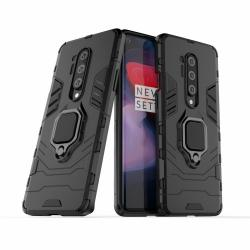 TRANSFORM PRO műanyag védő tok / hátlap - FEKETE - szilikon betétes, kitámasztható, fém ujjgyűrűvel, tapadófelület mágneses autós tartóhoz - ERŐS VÉDELEM! - OnePlus 8 Pro