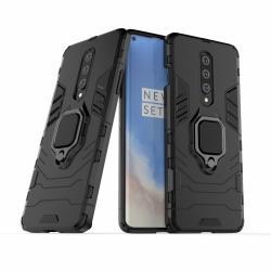 TRANSFORM PRO műanyag védő tok / hátlap - FEKETE - szilikon betétes, kitámasztható, fém ujjgyűrűvel, tapadófelület mágneses autós tartóhoz - ERŐS VÉDELEM! - OnePlus 8