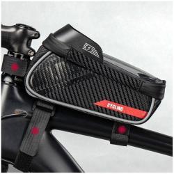 UNIVERZÁLIS biciklis / kerékpáros tartó konzol mobiltelefon készülékekhez - cseppálló védő tokos kialakítás, tépőzár, fülhallgató nyílás, kétirányú cipzár - FEKETE - 193 x 115 x 95 / 85 mm