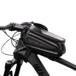 """UNIVERZÁLIS biciklis / kerékpáros tartó konzol mobiltelefon készülékekhez - fényvisszaverő, cseppálló védő tokos kialakítás, tépőzáras pántok, fülhallgató nyílás, kétirányú cipzár - FEKETE - maximum 7""""-os készülékekhez ajánlott"""