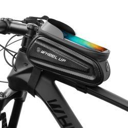 """UNIVERZÁLIS biciklis / kerékpáros tartó konzol mobiltelefon készülékekhez - cseppálló védő tokos kialakítás, tépőzár, fülhallgató nyílás, kétirányú cipzár - FEKETE - maximum 7""""-os készülékekhez ajánlott"""