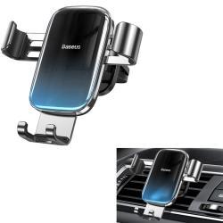 """BASEUS Glaze Gravity univerzális autós / gépkocsi tartó - FEKETE / KÉK - szellőzőrácsra rögzíthető,  4.7-6.5""""-os készülékekhez ajánlott - GYÁRI"""