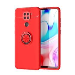 OTT! METAL RING szilikon védő tok / hátlap - PIROS - fém ujjgyűrű, tapadófelület mágneses autós tartóhoz, ERŐS VÉDELEM! - Xiaomi Redmi Note 9 / Xiaomi Redmi 10X 4G