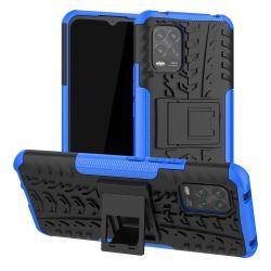 OTT! VROOM műanyag védő tok / hátlap - KÉK - AUTÓGUMI MINTÁS - szilikon betétes, asztali tartó funkciós, ERŐS VÉDELEM! - Xiaomi Mi 10 Lite 5G / Xiaomi Mi 10 Youth 5G / Xiaomi Mi 10 Lite Zoom