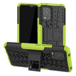 OTT! VROOM műanyag védő tok / hátlap - ZÖLD - AUTÓGUMI MINTÁS - szilikon betétes, asztali tartó funkciós, ERŐS VÉDELEM! - Xiaomi Mi 10 Lite 5G / Xiaomi Mi 10 Youth 5G / Xiaomi Mi 10 Lite Zoom