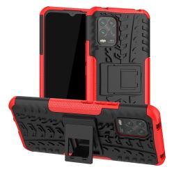 OTT! VROOM műanyag védő tok / hátlap - PIROS - AUTÓGUMI MINTÁS - szilikon betétes, asztali tartó funkciós, ERŐS VÉDELEM! - Xiaomi Mi 10 Lite 5G / Xiaomi Mi 10 Youth 5G / Xiaomi Mi 10 Lite Zoom
