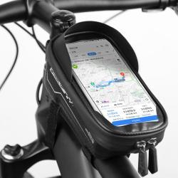 """WHEEL UP UNIVERZÁLIS biciklis / kerékpáros tartó konzol mobiltelefon készülékekhez - cseppálló védő tokos kialakítás, cipzár, tépőzáras, napellenző, 6.5""""-os készülékekhez ajánlott - FEKETE"""