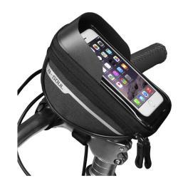 """B-SOUL UNIVERZÁLIS biciklis / kerékpáros tartó konzol mobiltelefon készülékekhez - cseppálló védő tokos kialakítás, cipzár, tépőzáras, napellenző, 6.4""""-os készülékekhez ajánlott - FEKETE - 185 x 95 x 85mm"""