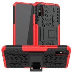 OTT! VROOM műanyag védő tok / hátlap - PIROS - AUTÓGUMI MINTÁS - szilikon betétes, asztali tartó funkciós, ERŐS VÉDELEM! - Xiaomi Redmi 9A / Xiaomi Redmi 9AT