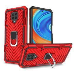 OTT! RING ARMOR műanyag védő tok / hátlap - PIROS - szilikon betétes, kitámasztható, fém ujjgyűrűvel, tapadófelület mágneses autós tartóhoz, erősített sarkok - ERŐS VÉDELEM! - Xiaomi Redmi Note 9S / Redmi Note 9 Pro / Redmi Note 9 Pro Max / Poco M2 Pro