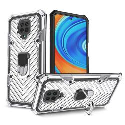 OTT! RING ARMOR műanyag védő tok / hátlap - EZÜST - szilikon betétes, kitámasztható, fém ujjgyűrűvel, tapadófelület mágneses autós tartóhoz, erősített sarkok - ERŐS VÉDELEM! - Xiaomi Redmi Note 9S / Redmi Note 9 Pro / Redmi Note 9 Pro Max / Poco M2 Pro