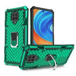 OTT! RING ARMOR műanyag védő tok / hátlap - SÖTÉTZÖLD - szilikon betétes, kitámasztható, fém ujjgyűrűvel, tapadófelület mágneses autós tartóhoz, erősített sarkok - ERŐS VÉDELEM! - Xiaomi Redmi Note 9S / Redmi Note 9 Pro / Redmi Note 9 Pro Max / Poco M2 Pr
