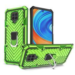 OTT! RING ARMOR műanyag védő tok / hátlap - VILÁGOSZÖLD - szilikon betétes, kitámasztható, fém ujjgyűrűvel, tapadófelület mágneses autós tartóhoz, erősített sarkok - ERŐS VÉDELEM! - Xiaomi Redmi Note 9S / Redmi Note 9 Pro / Redmi Note 9 Pro Max / Poco M2