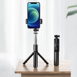 LEMONDA teleszkópos selfie bot és tripod állvány - BLUETOOTH KIOLDÓVAL, 360 fokban forgatható, összecsukható, max 65cm hosszú nyél - FEKETE