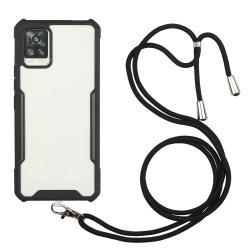 OTT! TRANSPARENT műanyag védő tok / átlátszó hátlap - FEKETE - szilikon szegély, állítható nyakpánt, erősített sarkok, ERŐS VÉDELEM! - SAMSUNG Galaxy A72 5G (SM-A726F) / Galaxy A72 4G (SM-A725F)
