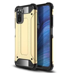 OTT! MAX DEFENDER műanyag védő tok / hátlap - ARANY - szilikon belső, ERŐS VÉDELEM! - Xiaomi Redmi Note 10 / Redmi Note 10S