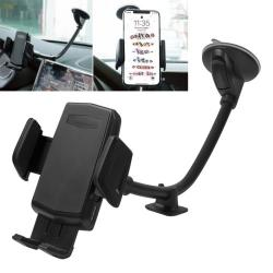 UNIVERZÁLIS gépkocsi / autós tartó - FEKETE - tapadó korongos / szélvédőre helyezhető, 360°-ban forgatható, 310mm hosszú flexibilis karral, 55-95mm-ig nyíló bölcső