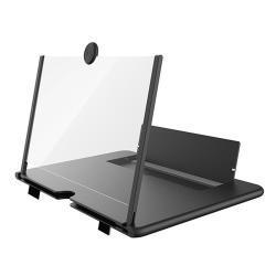 """UNIVERZÁLIS összecsukható asztali telefon tartó, állvány / nagyító - 16""""-ig nagyítja fel a képernyőt, összecsukható, csúszásgátló - FEKETE - 260 x 174 x 9mm"""