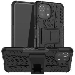 OTT! VROOM műanyag védő tok / hátlap - FEKETE - AUTÓGUMI MINTÁS - szilikon betétes, asztali tartó funkciós, ERŐS VÉDELEM! - Xiaomi Mi 11 Lite / Xiaomi Mi 11 Lite 5G