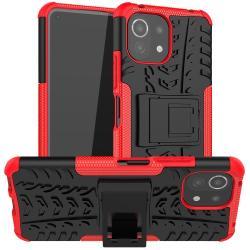 OTT! VROOM műanyag védő tok / hátlap - PIROS - AUTÓGUMI MINTÁS - szilikon betétes, asztali tartó funkciós, ERŐS VÉDELEM! - Xiaomi Mi 11 Lite / Xiaomi Mi 11 Lite 5G