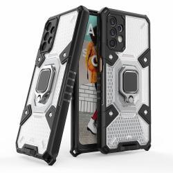 OTT! HONEYCOMB STAND műanyag védő tok / hátlap - ÁTTETSZŐ - szilikon betétes, kitámasztható, fém ujjgyűrűvel, csuklópánt, tapadófelület mágneses autós tartóhoz - ERŐS VÉDELEM! - SAMSUNG Galaxy A32 5G (SM-A326)