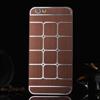 Mûanyag védõ tok / hátlap - szálcsiszolt / négyzet mintás - BARNA - APPLE iPhone 6
