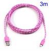 ASUS Fonepad 7 (ME372CL / ME175CG)Adatátviteli kábel / USB töltõ - microUSB 2.0, 3m hosszú - RÓZSASZÍN