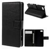 Notesz tok / flip tok - FEKETE - asztali tartó funkciós, oldalra nyíló, rejtett mágneses záródás, bankkártyatartó zseb - SONY Xperia Z5 Compact