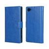 CRAZY notesz tok / flip tok - SÖTÉTKÉK - asztali tartó funkciós, oldalra nyíló, rejtett mágneses záródás, bankkártyatartó zseb - SONY Xperia Z5 Compact