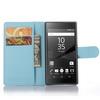 WALLET notesz tok / flip tok - VILÁGOSKÉK - asztali tartó funkciós, oldalra nyíló, rejtett mágneses záródás, bankkártyatartó zseb - SONY Xperia Z5 Compact