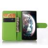 WALLET notesz tok / flip tok - ZÖLD - asztali tartó funkciós, oldalra nyíló, rejtett mágneses záródás, bankkártyatartó zseb - Lenovo A2010