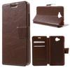 CRAZY notesz tok / flip tok - BARNA - asztali tartó funkciós, oldalra nyíló, rejtett mágneses záródás, bankkártya tartó zseb - HUAWEI Enjoy 5