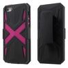 OTT! X PROTECT mûanyag védõ tok / hátlap - FEKETE / MAGENTA - szilikon betétes, asztali tartó funkció, övcsipesz, ERÕS VÉDELEM! - Apple IPhone SE / Apple IPhone 5 / Apple IPhone 5S