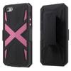 OTT! X PROTECT mûanyag védõ tok / hátlap - FEKETE / RÓZSASZÍN - szilikon betétes, asztali tartó funkció, övcsipesz, ERÕS VÉDELEM! - Apple IPhone SE / Apple IPhone 5 / Apple IPhone 5S