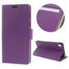 FLEXI notesz tok / flip tok - LILA - asztali tartó funkciós, oldalra nyíló, rejtett mágneses záródás, bankkártya tartó zseb, szilikon belsõ - SONY Xperia E5