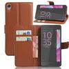 WALLET notesz tok / flip tok - BARNA - asztali tartó funkciós, oldalra nyíló, rejtett mágneses záródás, bankkártyatartó zseb, szilikon belsõ - Sony Xperia E5