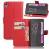 WALLET notesz tok / flip tok - PIROS - asztali tartó funkciós, oldalra nyíló, rejtett mágneses záródás, bankkártyatartó zseb, szilikon belsõ - Sony Xperia E5