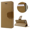 Mercury notesz tok/ flip tok - VILÁGOSBARNA - asztali tartó funkciós, oldalra nyíló, rejtett mágneses záródás, bankkártya tartó zsebekkel - APPLE iPhone 7 (4.7) - GYÁRI